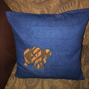 Throw Pillow w/ Authentic Mud Cloth Baby Elephant